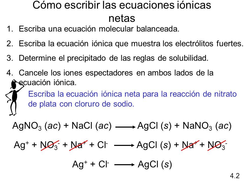 Cómo escribir las ecuaciones iónicas netas