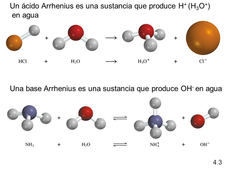 Un ácido Arrhenius es una sustancia que produce H+ (H3O+) en agua