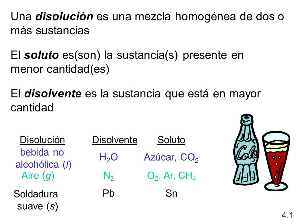 Una disolución es una mezcla homogénea de dos o más sustancias