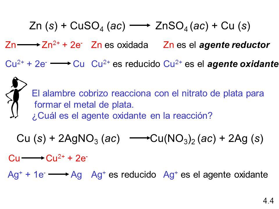 Zn (s) + CuSO4 (ac) ZnSO4 (ac) + Cu (s)