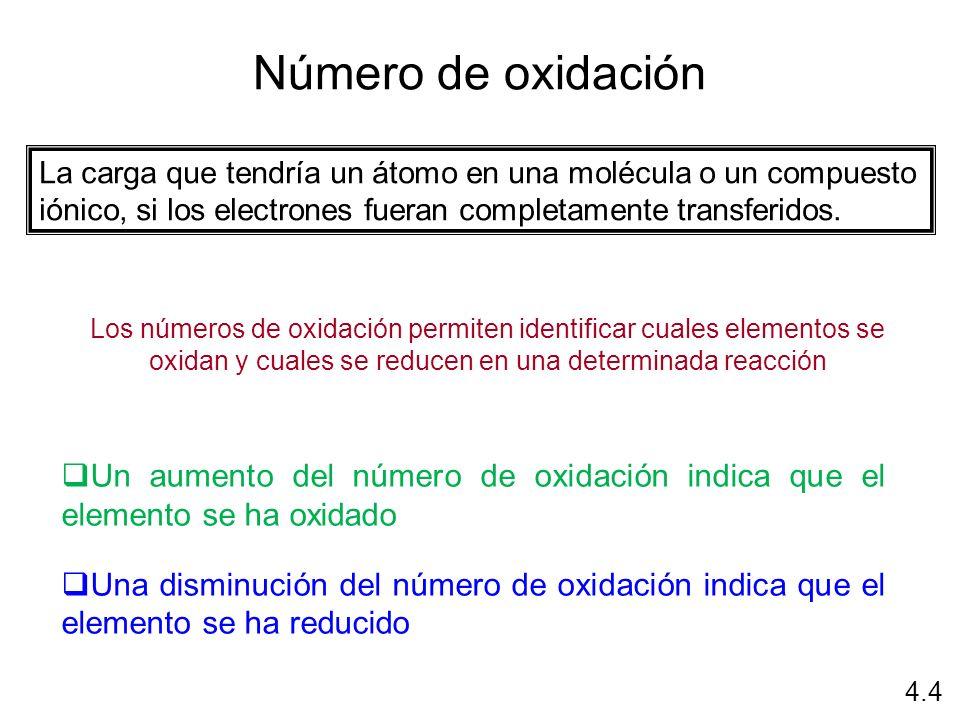 Número de oxidación La carga que tendría un átomo en una molécula o un compuesto iónico, si los electrones fueran completamente transferidos.