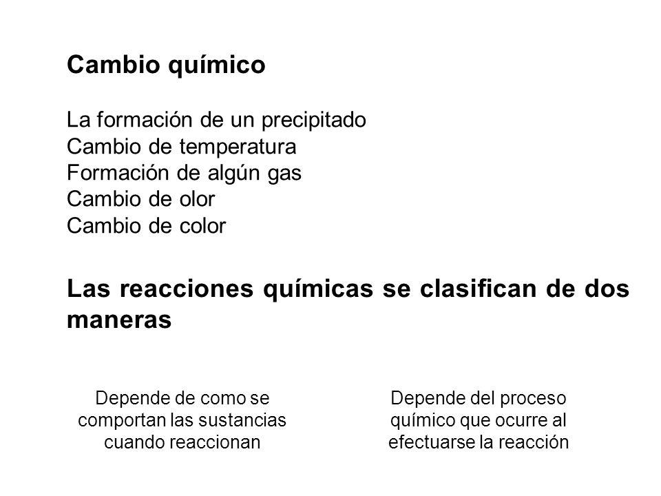 Las reacciones químicas se clasifican de dos maneras