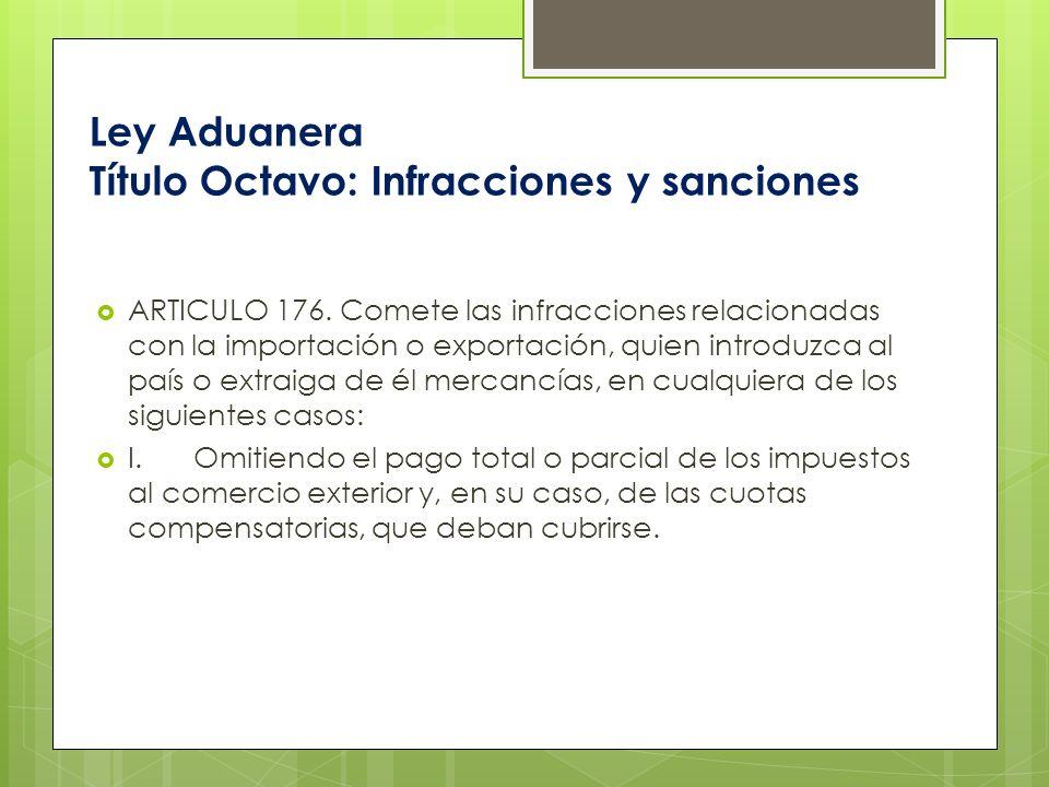 Ley Aduanera Título Octavo: Infracciones y sanciones