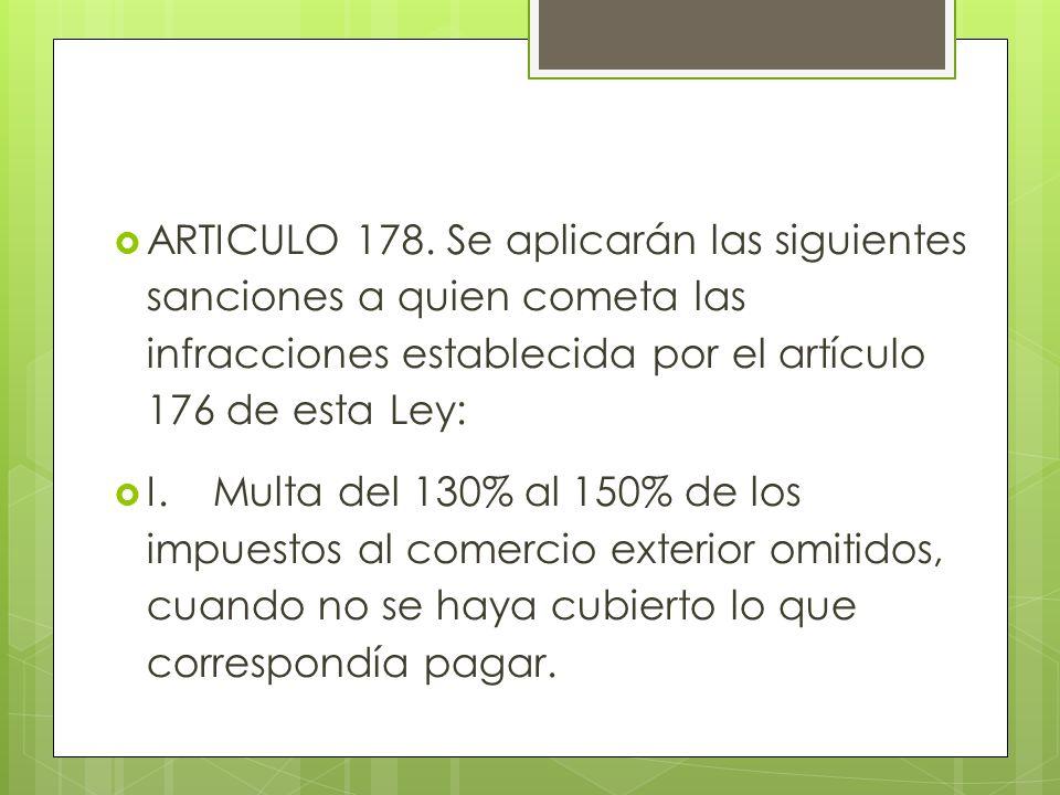 ARTICULO 178. Se aplicarán las siguientes sanciones a quien cometa las infracciones establecida por el artículo 176 de esta Ley: