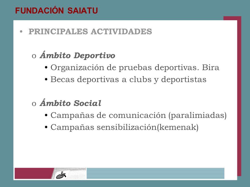 FUNDACIÓN SAIATU PRINCIPALES ACTIVIDADES. Ámbito Deportivo. Organización de pruebas deportivas. Bira.