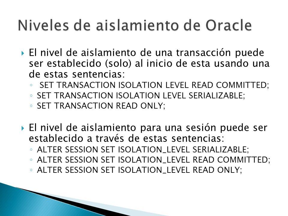 Niveles de aislamiento de Oracle
