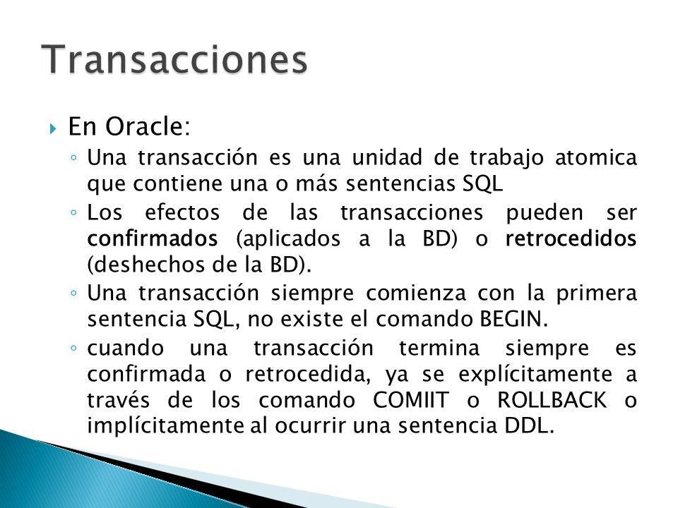 Transacciones En Oracle: