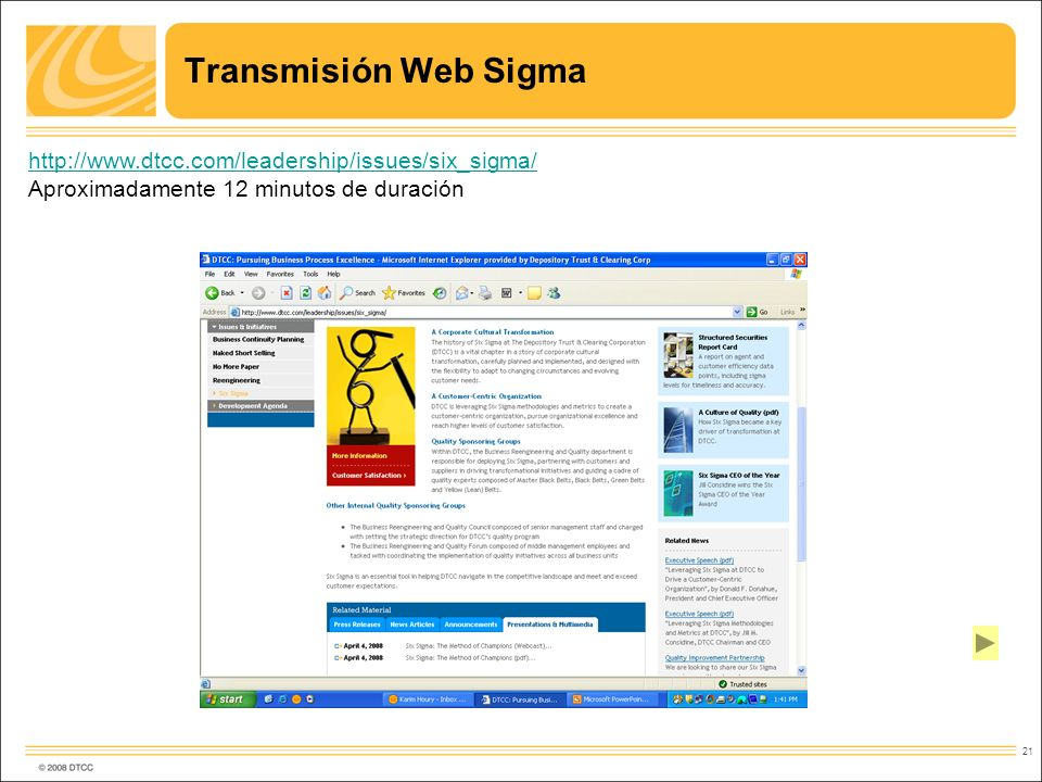 Transmisión Web Sigma http://www.dtcc.com/leadership/issues/six_sigma/