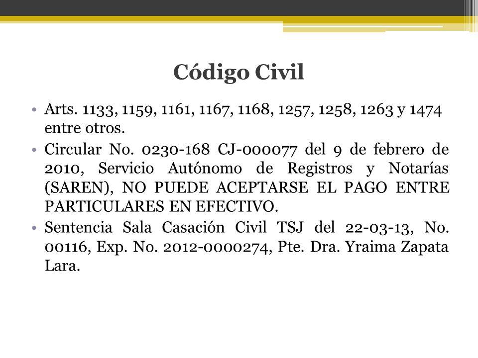 Código Civil Arts. 1133, 1159, 1161, 1167, 1168, 1257, 1258, 1263 y 1474 entre otros.