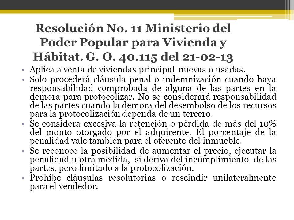 Resolución No. 11 Ministerio del Poder Popular para Vivienda y Hábitat