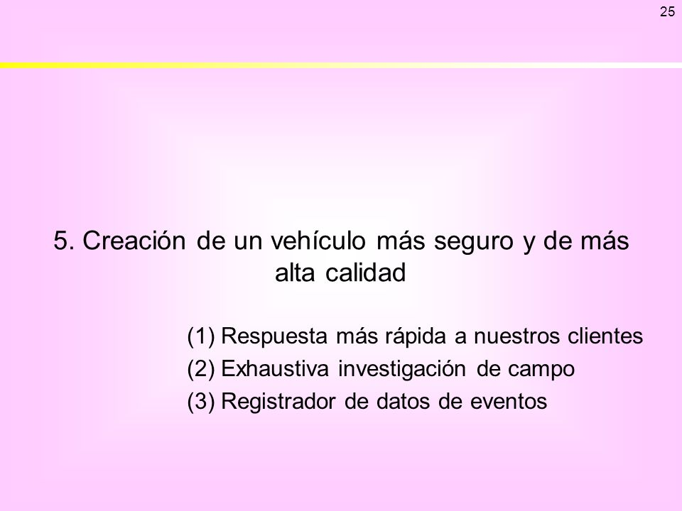 5. Creación de un vehículo más seguro y de más alta calidad