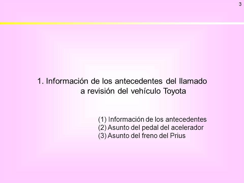 3 1. Información de los antecedentes del llamado a revisión del vehículo Toyota. (1) Información de los antecedentes.