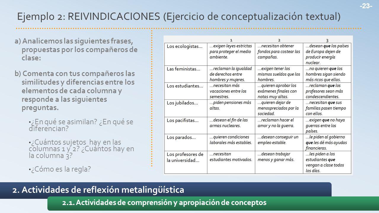 Ejemplo 2: REIVINDICACIONES (Ejercicio de conceptualización textual)
