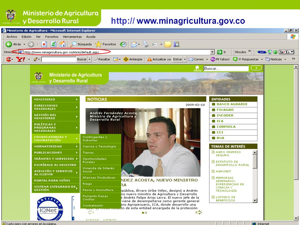 http:// www.minagricultura.gov.co
