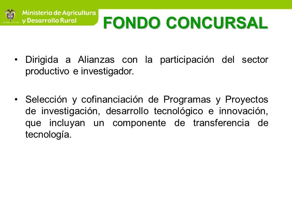 FONDO CONCURSALDirigida a Alianzas con la participación del sector productivo e investigador.