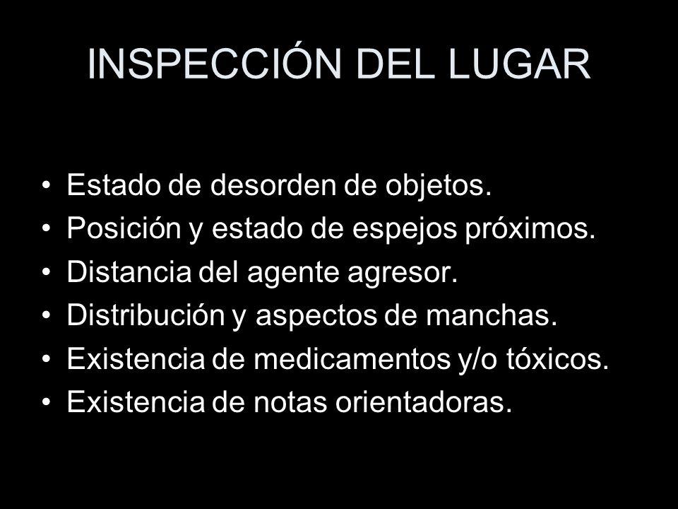 INSPECCIÓN DEL LUGAR Estado de desorden de objetos.