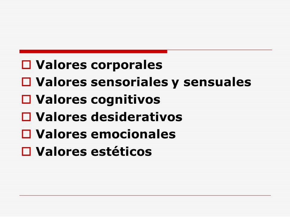 Valores corporalesValores sensoriales y sensuales. Valores cognitivos. Valores desiderativos. Valores emocionales.