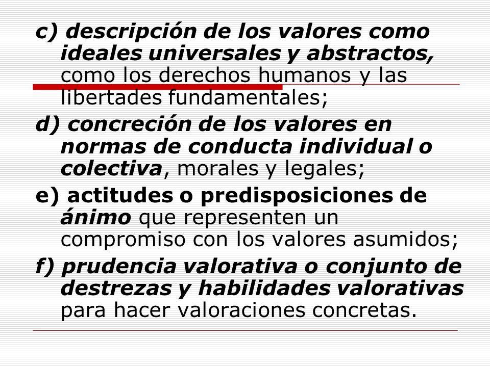 c) descripción de los valores como ideales universales y abstractos, como los derechos humanos y las libertades fundamentales;