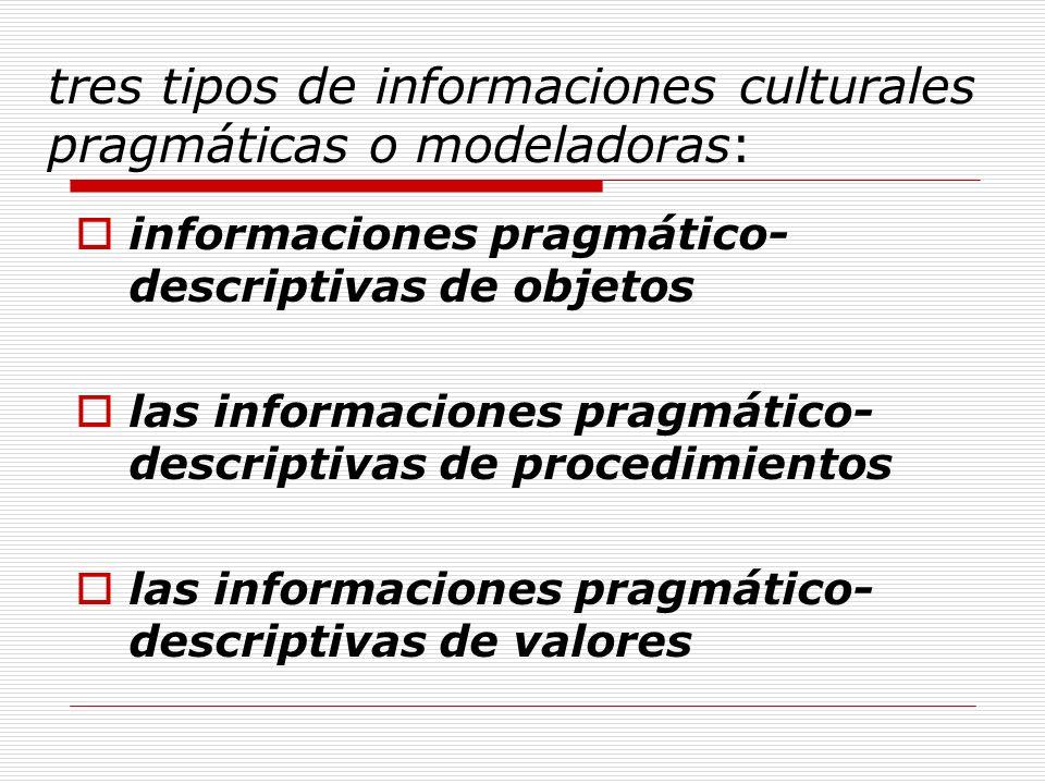 tres tipos de informaciones culturales pragmáticas o modeladoras:
