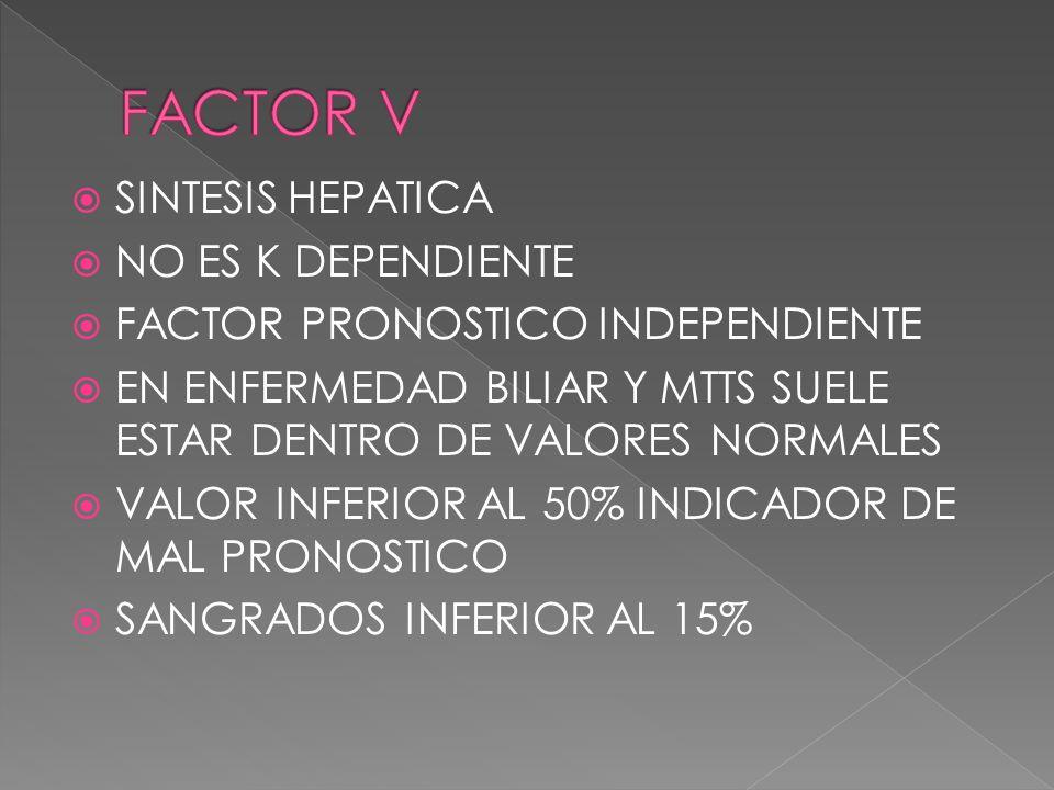 FACTOR V SINTESIS HEPATICA NO ES K DEPENDIENTE