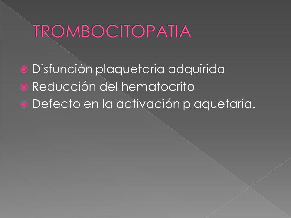 TROMBOCITOPATIA Disfunción plaquetaria adquirida