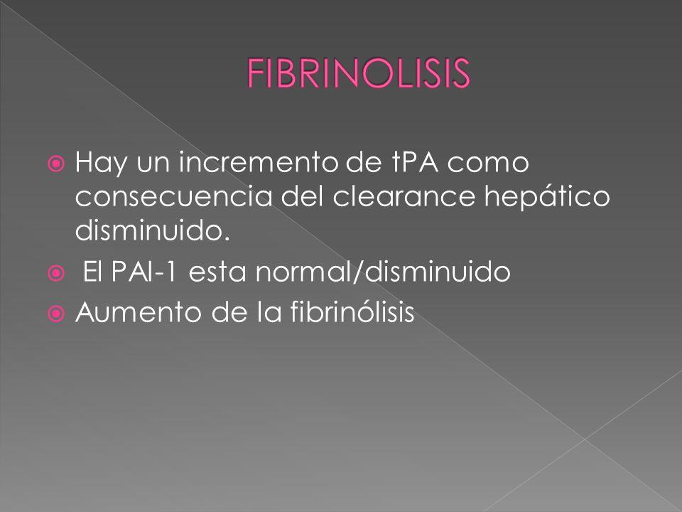 FIBRINOLISISHay un incremento de tPA como consecuencia del clearance hepático disminuido. El PAI-1 esta normal/disminuido.