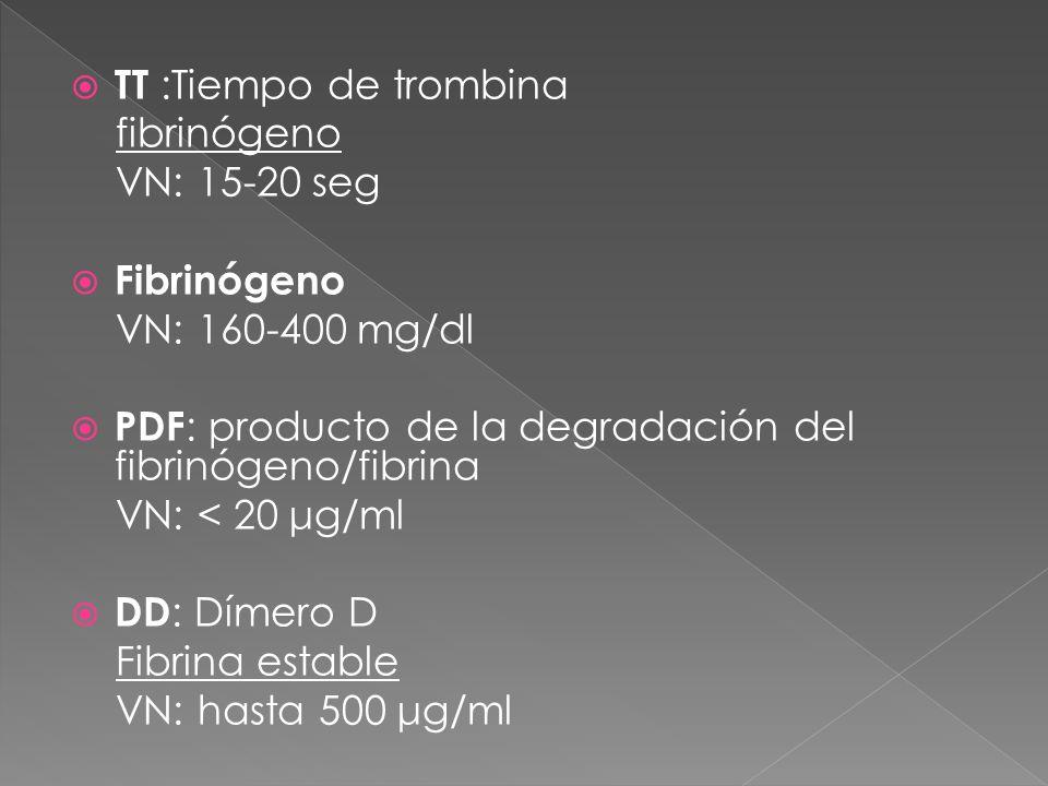 TT :Tiempo de trombina fibrinógeno. VN: 15-20 seg. Fibrinógeno. VN: 160-400 mg/dl. PDF: producto de la degradación del fibrinógeno/fibrina.