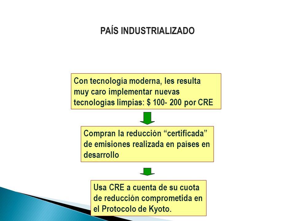 PAÍS INDUSTRIALIZADOCon tecnología moderna, les resulta muy caro implementar nuevas tecnologías limpias: $ 100- 200 por CRE.