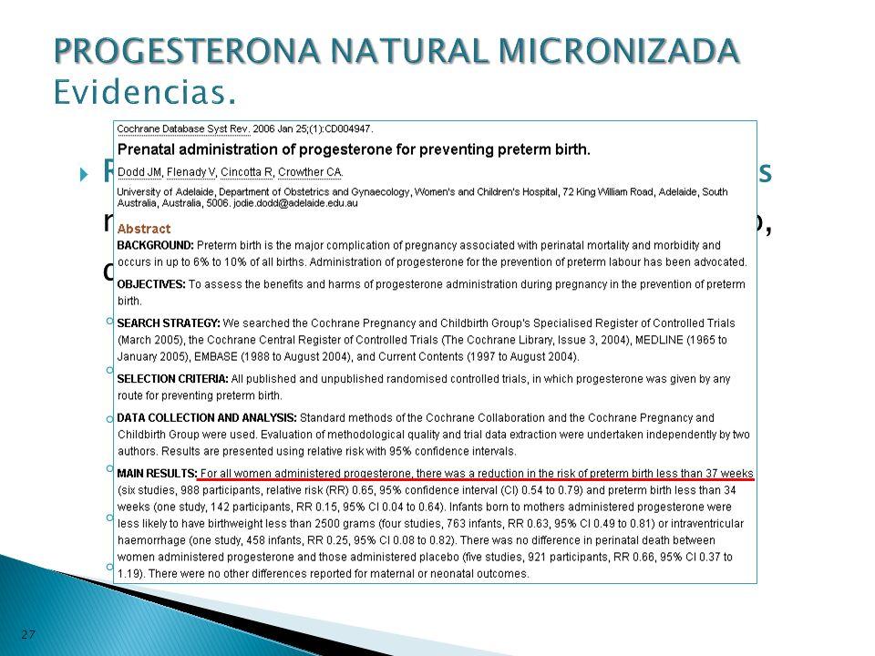 PROGESTERONA NATURAL MICRONIZADA Evidencias.