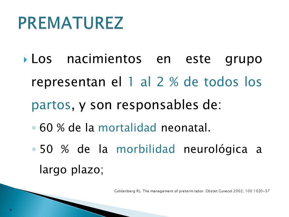 PREMATUREZ Los nacimientos en este grupo representan el 1 al 2 % de todos los partos, y son responsables de: