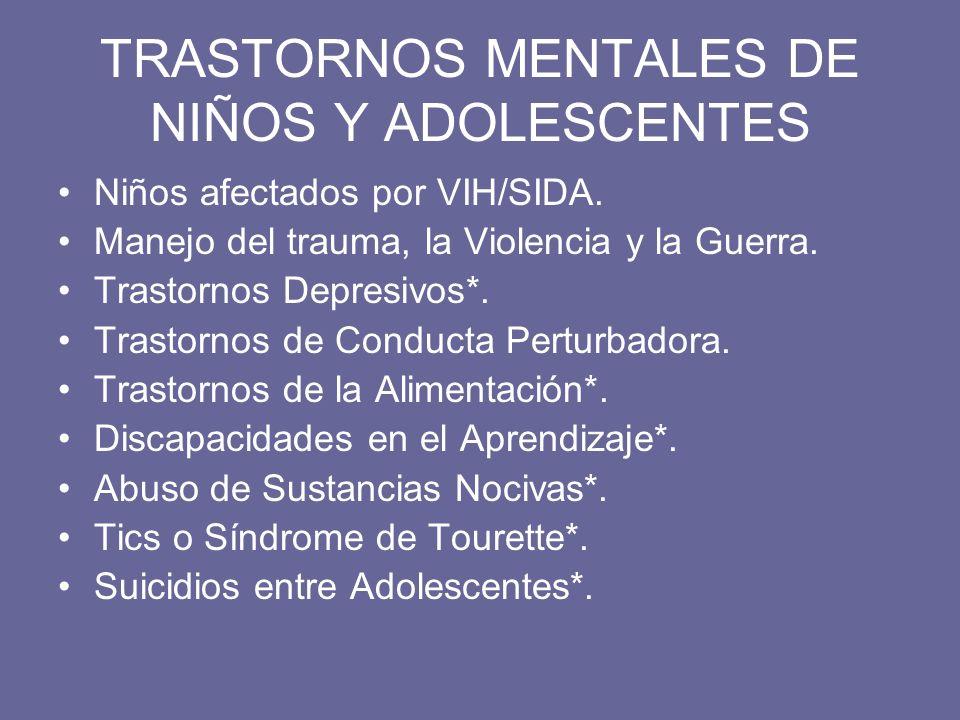 TRASTORNOS MENTALES DE NIÑOS Y ADOLESCENTES
