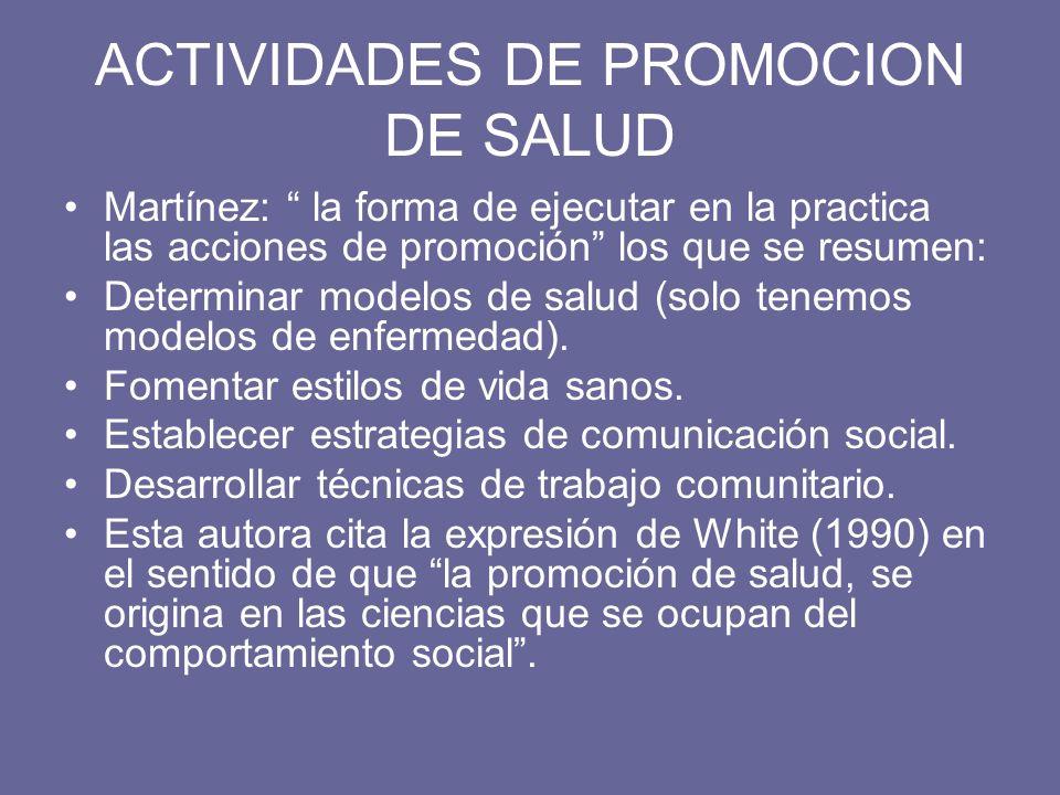 ACTIVIDADES DE PROMOCION DE SALUD