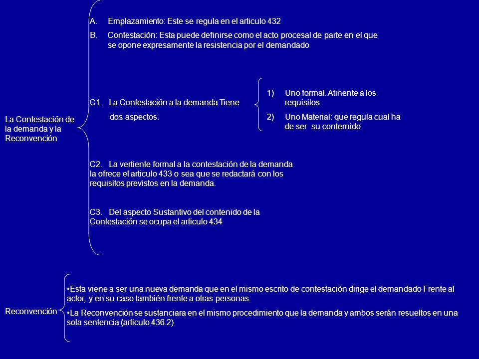 Emplazamiento: Este se regula en el articulo 432