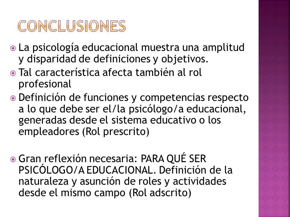conclusiones La psicología educacional muestra una amplitud y disparidad de definiciones y objetivos.
