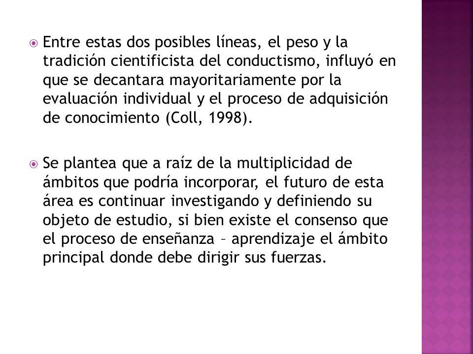 Entre estas dos posibles líneas, el peso y la tradición cientificista del conductismo, influyó en que se decantara mayoritariamente por la evaluación individual y el proceso de adquisición de conocimiento (Coll, 1998).