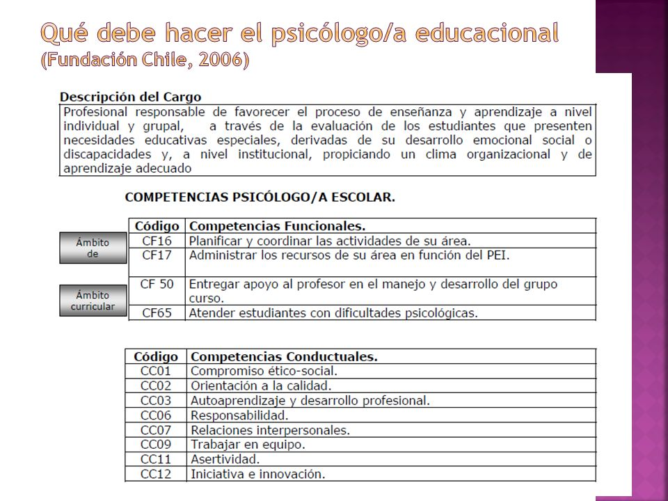 Qué debe hacer el psicólogo/a educacional (Fundación Chile, 2006)