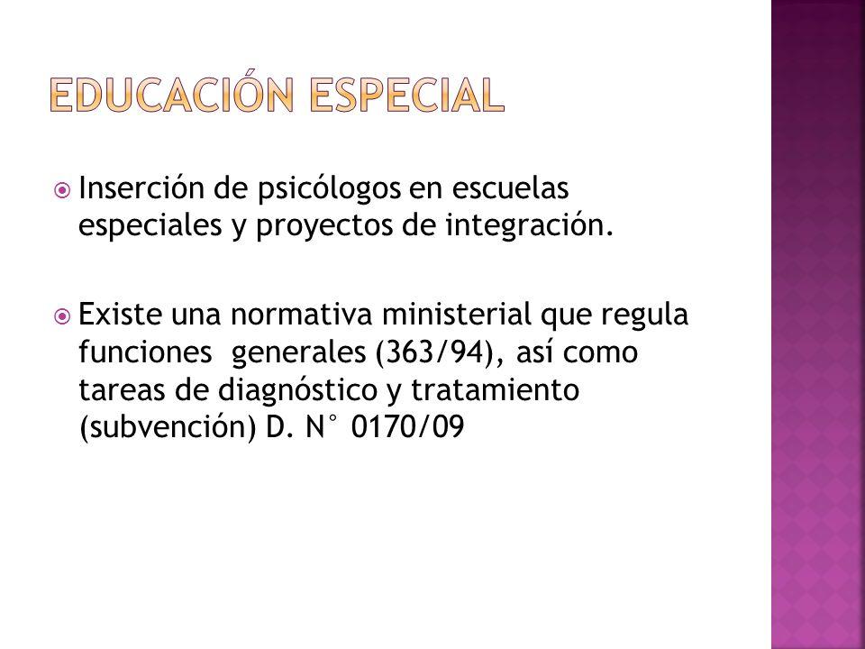 Educación Especial Inserción de psicólogos en escuelas especiales y proyectos de integración.
