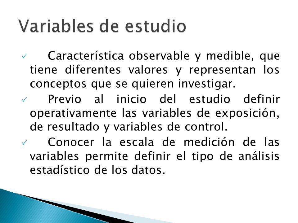 Variables de estudio Característica observable y medible, que tiene diferentes valores y representan los conceptos que se quieren investigar.