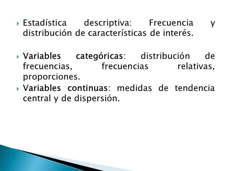 Estadística descriptiva: Frecuencia y distribución de características de interés.