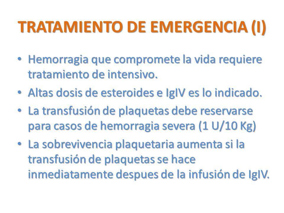 TRATAMIENTO DE EMERGENCIA (I)