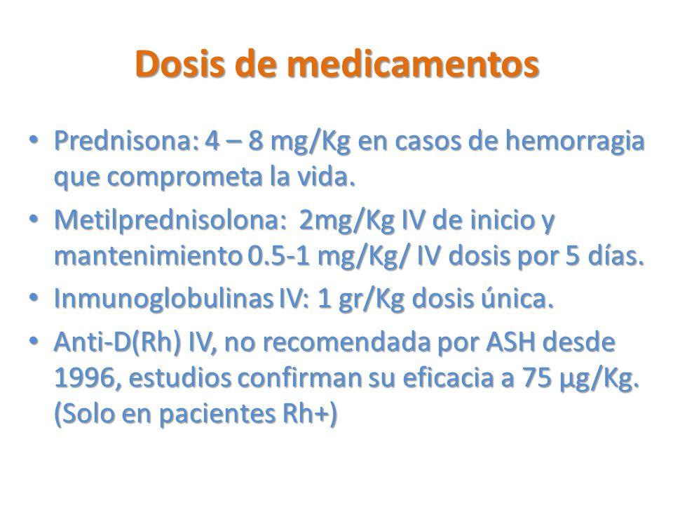 Dosis de medicamentos Prednisona: 4 – 8 mg/Kg en casos de hemorragia que comprometa la vida.