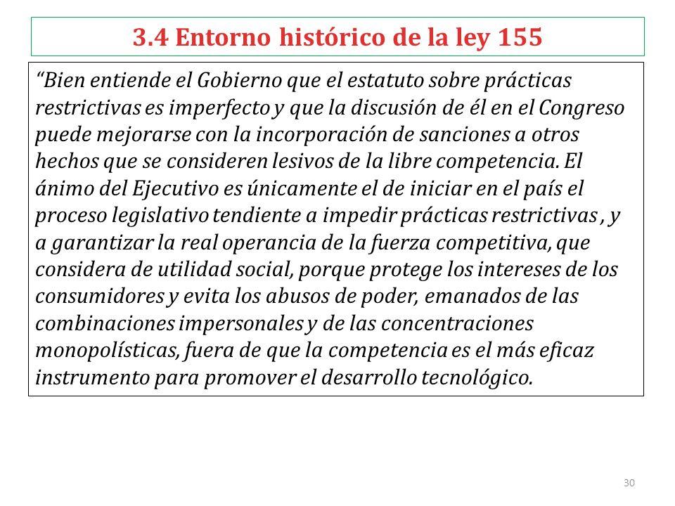 3.4 Entorno histórico de la ley 155