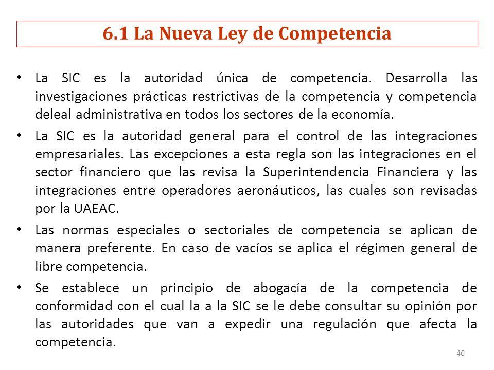 6.1 La Nueva Ley de Competencia