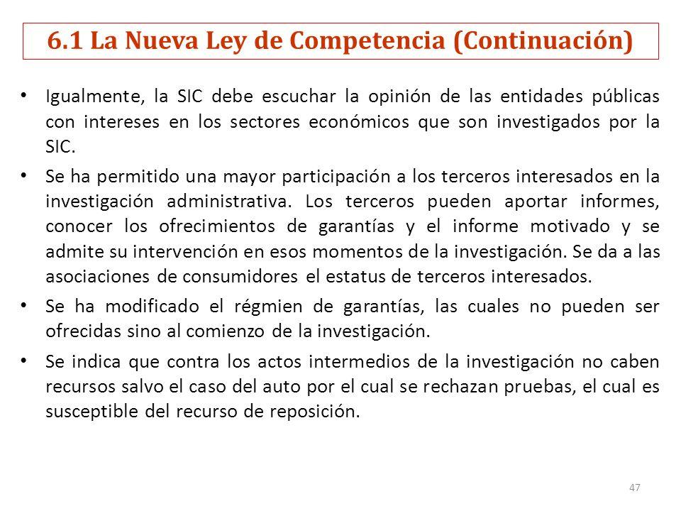 6.1 La Nueva Ley de Competencia (Continuación)