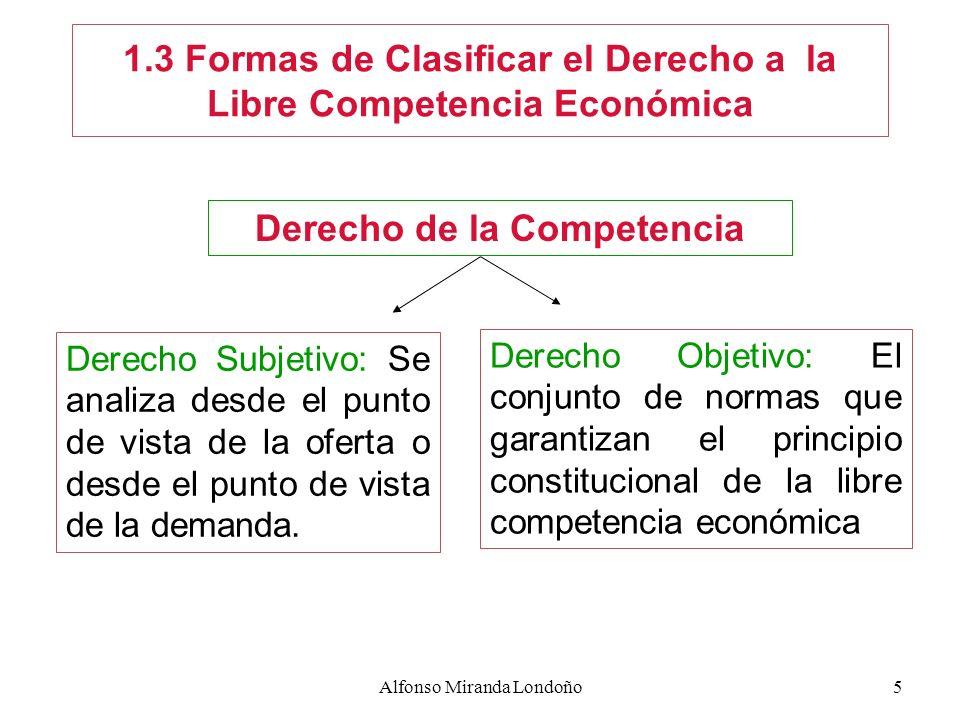 1.3 Formas de Clasificar el Derecho a la Libre Competencia Económica