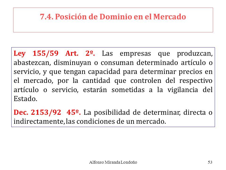 7.4. Posición de Dominio en el Mercado