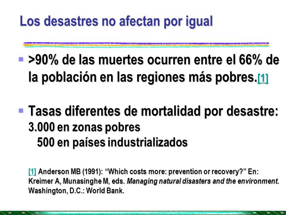 Los desastres no afectan por igual
