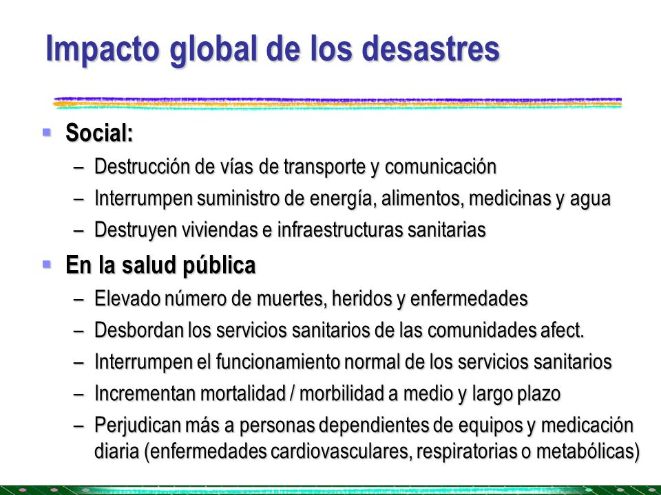 Impacto global de los desastres