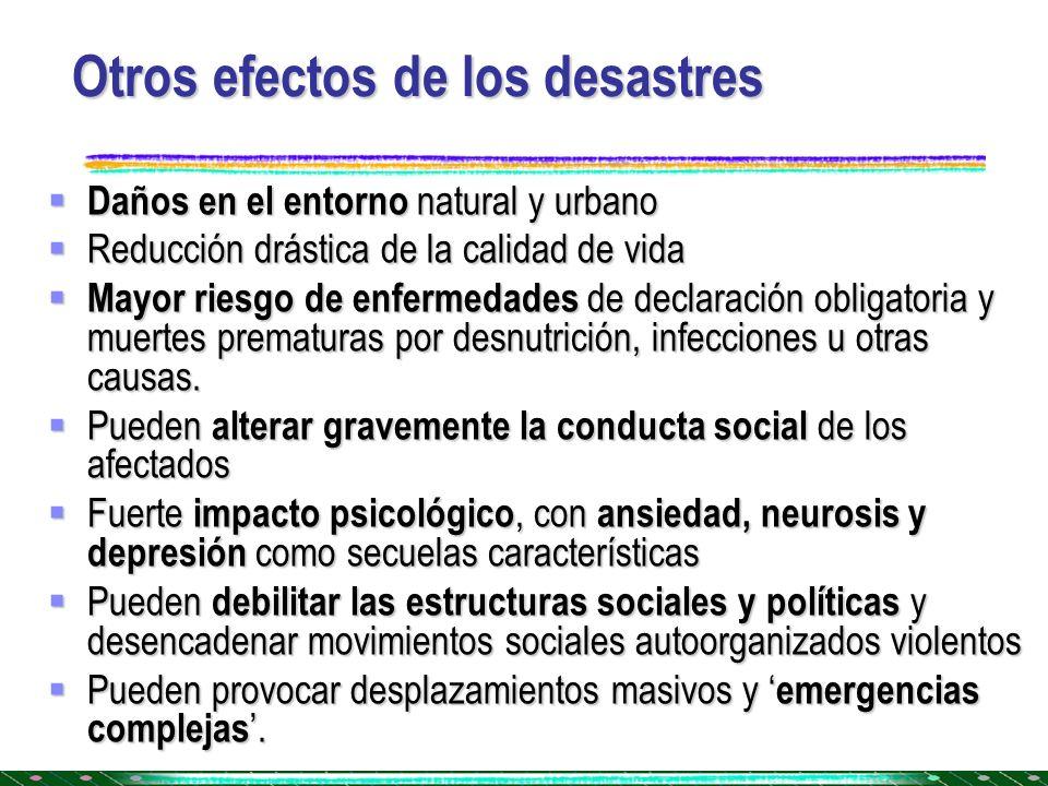 Otros efectos de los desastres
