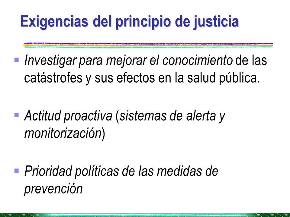 Exigencias del principio de justicia
